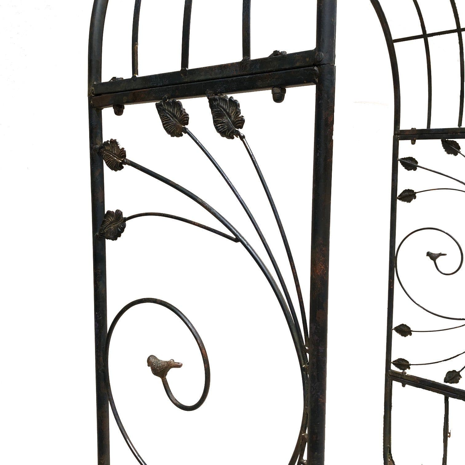 ornate black french provincial garden arch on white background