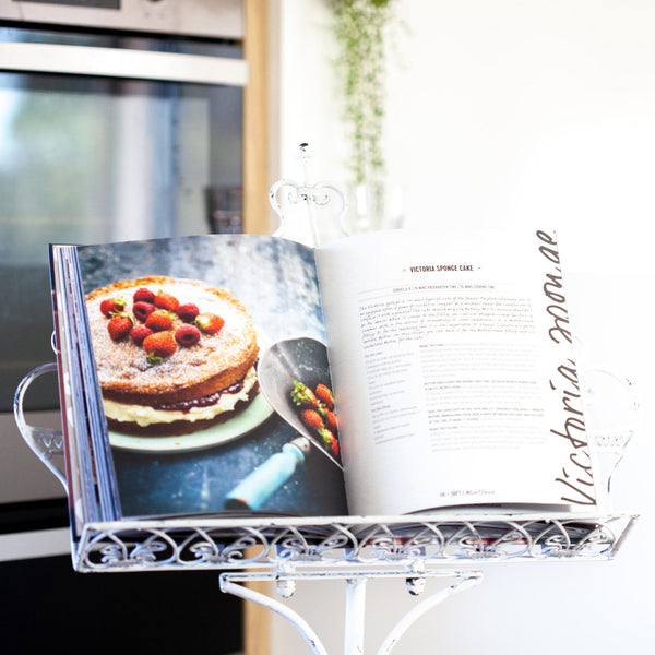 distressed white music stand or book stand or menu stand height adjustable with cooking book