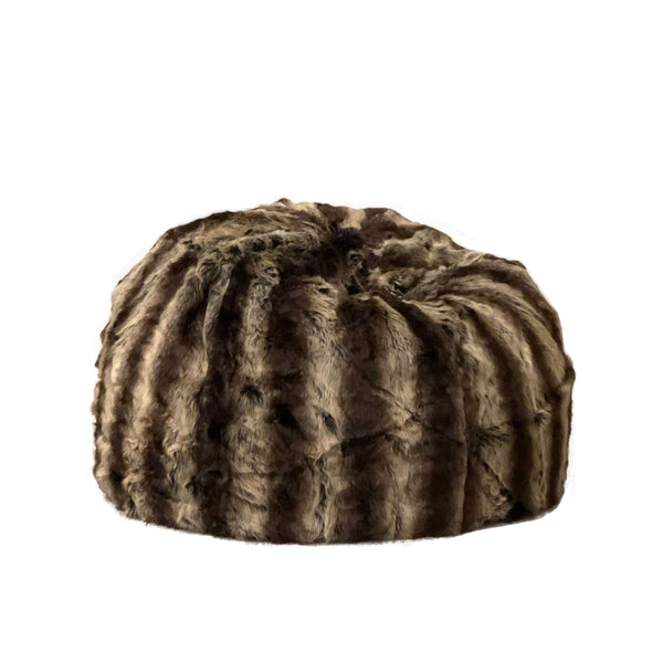 lush fur beanbag in rich brown and tan colours on a white background