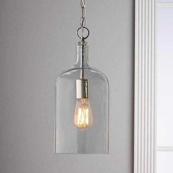 glass jug pendant light on grey background with vintage edison globe