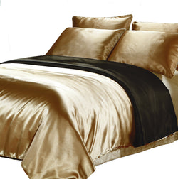Satin Quilt Cover - Black/Veuve Gold Reversible