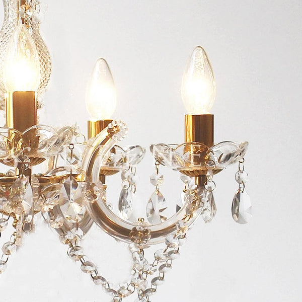 gold chandelier on white background