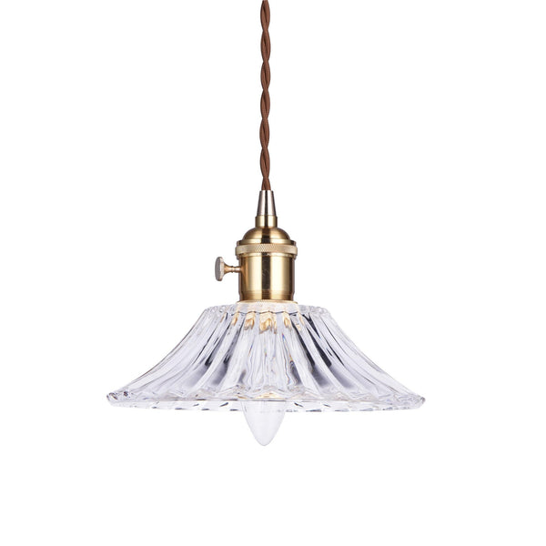glass pendant light with gold hardware and textured tapered glass shade