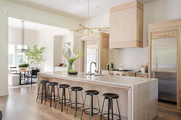 black industrial bar stool in modern kitchen