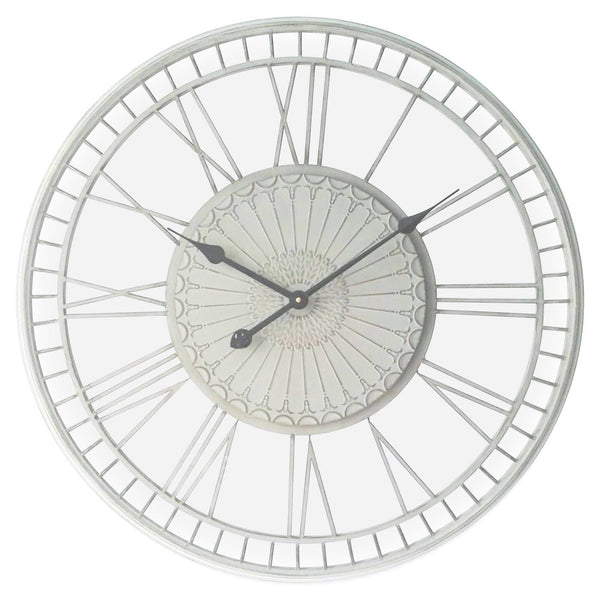 shabby cream Tuscany metal wall clock on a white background