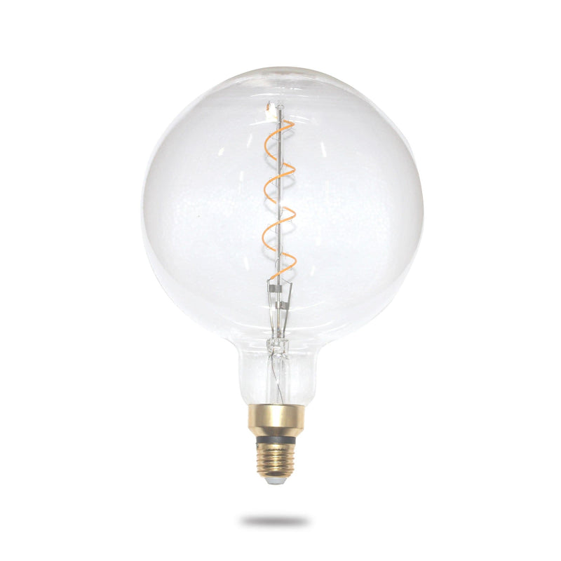 oversize filament globe with single spiral 4w on a white background