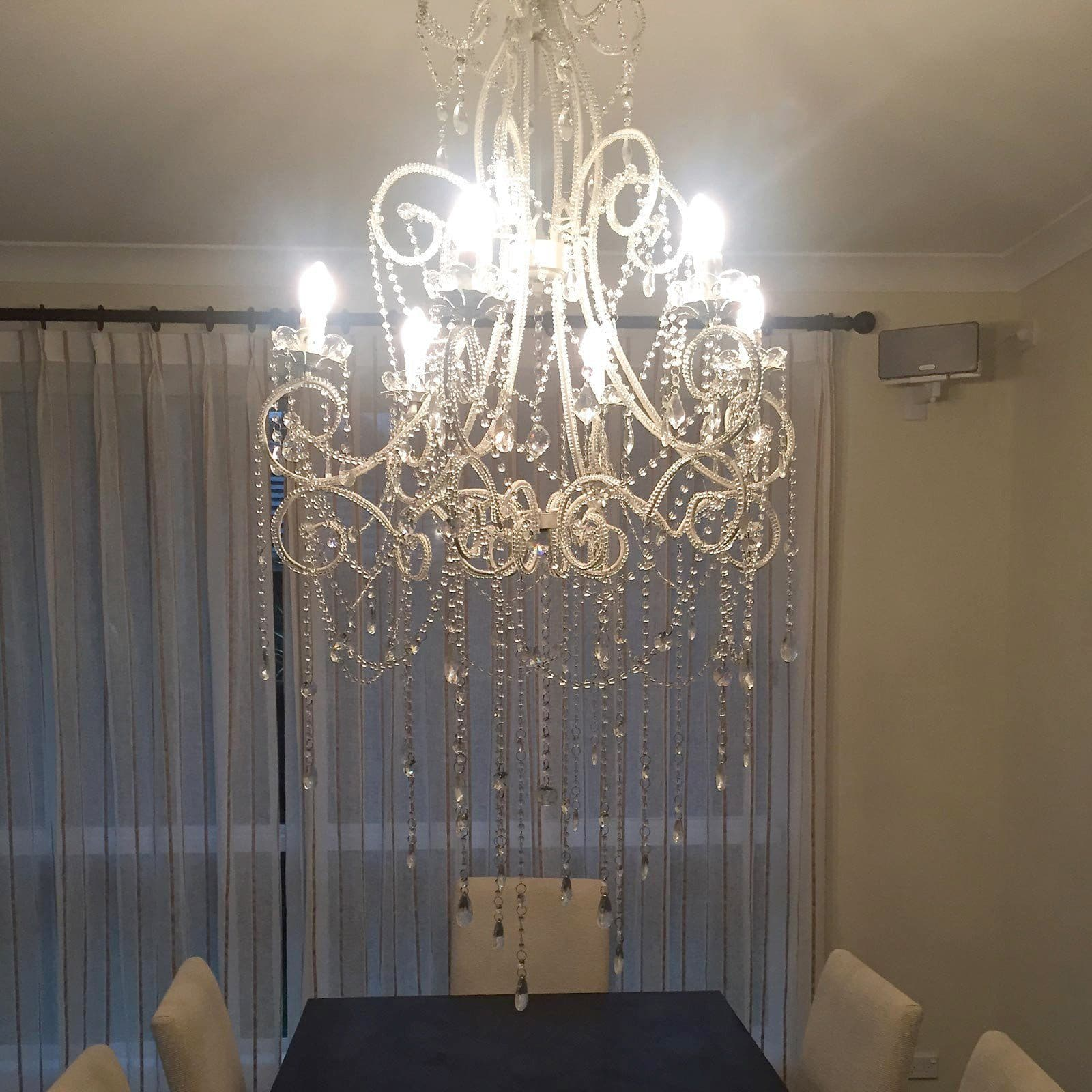 Large French Provincial 6 Light Anastasia Chandelier in a dining room
