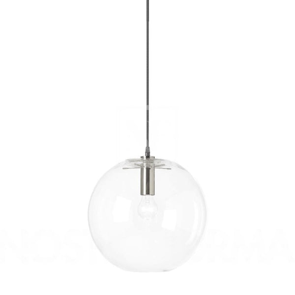 large round ball light with chrome metal detail on a white background
