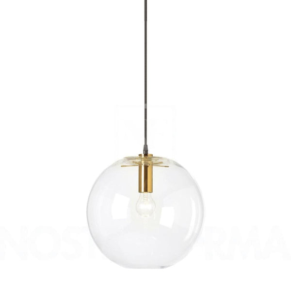 large round ball light with gold metal detail on a white background