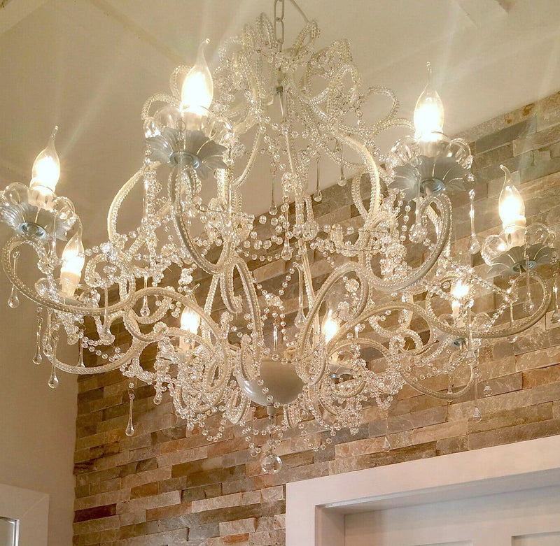 large french white provincial cream chandelier in kitchen