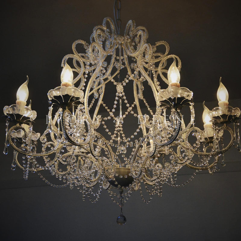 amazing chandelier with crystal beading and french provincial french feel