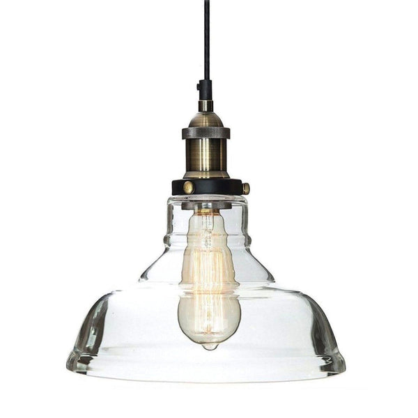 LEXIS Glass Industrial Filament Pendant Light - Antique Brass Fittings