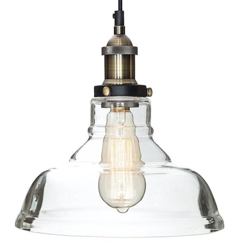 LEXIS Glass Industrial Filament Pendant Light - Vintage Brass Fittings