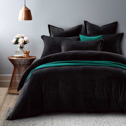 black velvet fur quilt cover set with green blanket and cushion