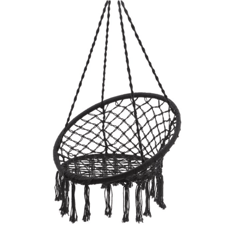black brazilian hammock swing chair on white background