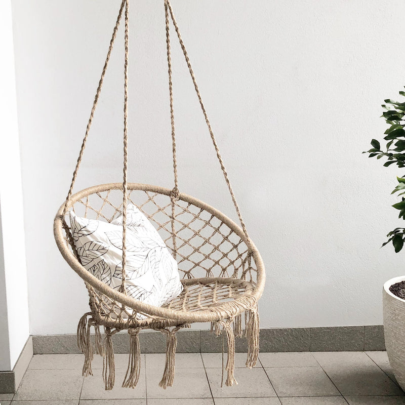 natural rope hanging macrame hammock chair with cushion