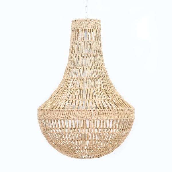 large boho pendant chandelier made of rope in natural colour