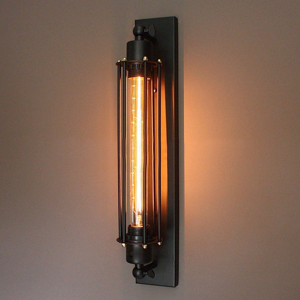 Industrial Lighting Components: Matt Black Industrial Sconce Wall Lamp With Edison