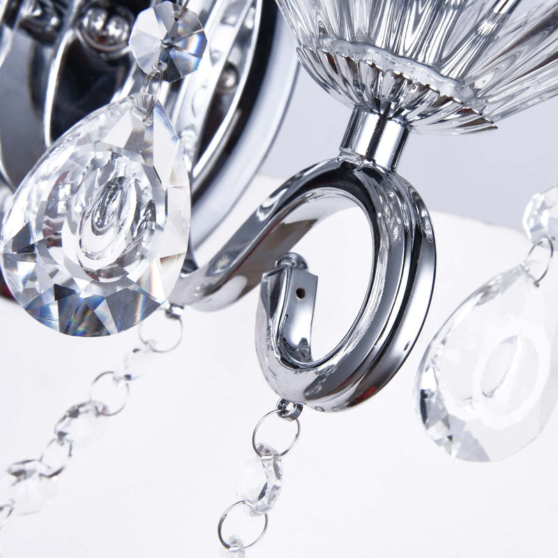 regent chrome wall chandelier with 2 arms and glass crystals on a white background