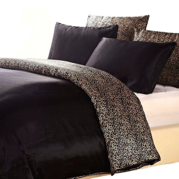 satin quilt cover black and leopard print reversible with pillows