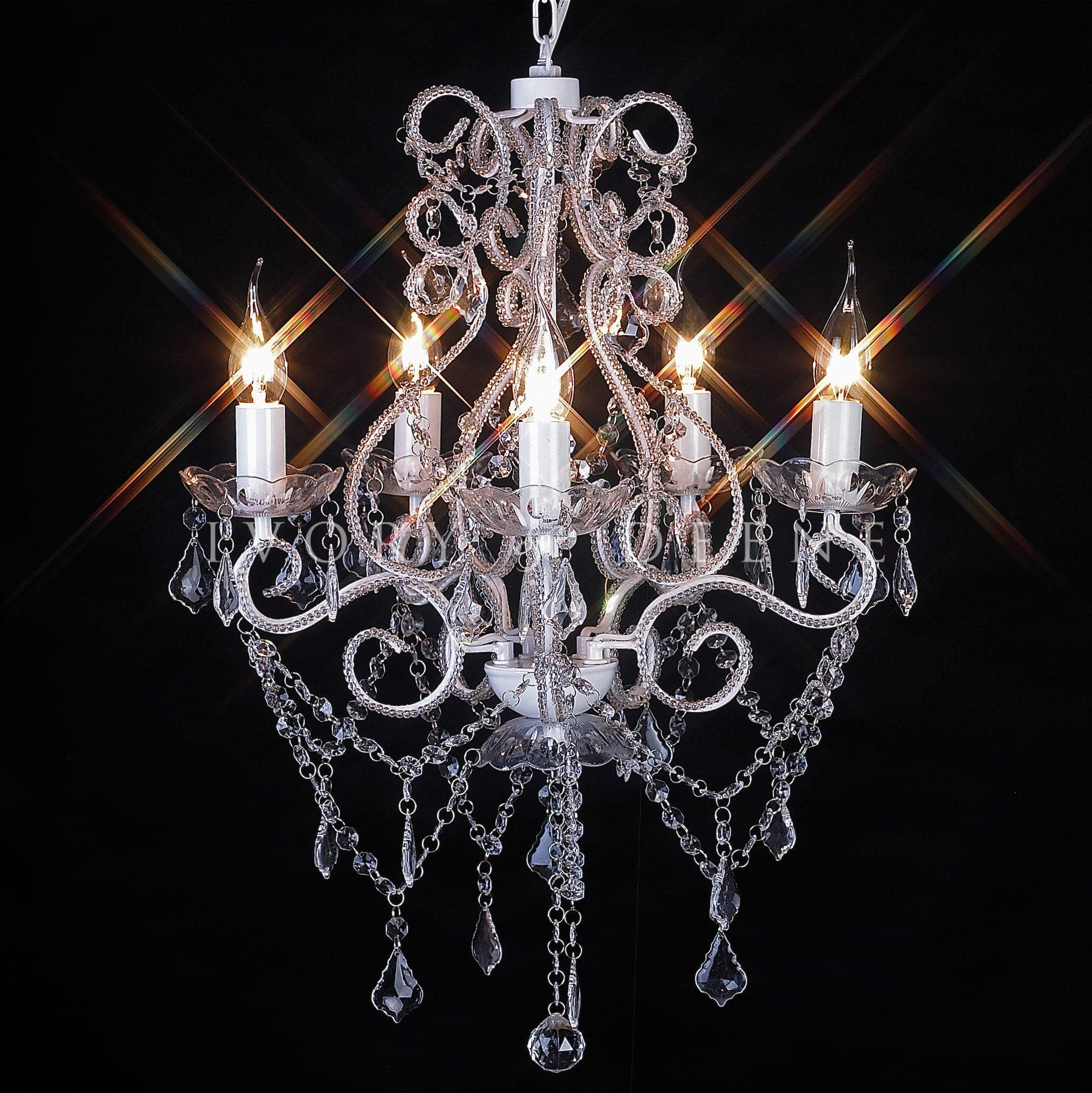 Chandelier 5 light glass shabby french venice ivory deene shabby french 5 light crystal chandelier arubaitofo Image collections