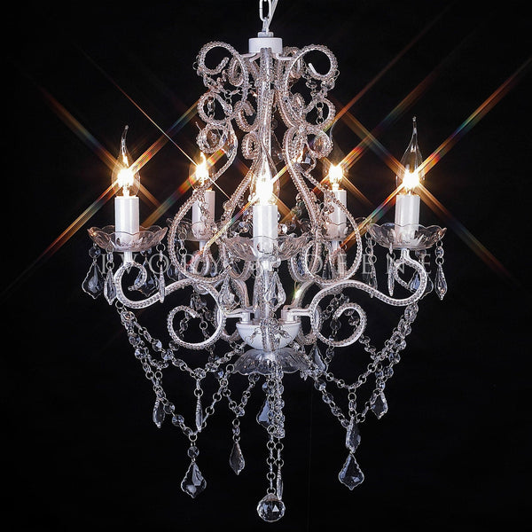 Shabby French 5 Light Crystal Chandelier