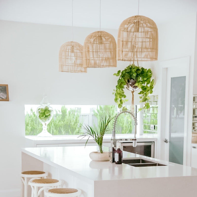 siena cane pendant light over a kitchen bench