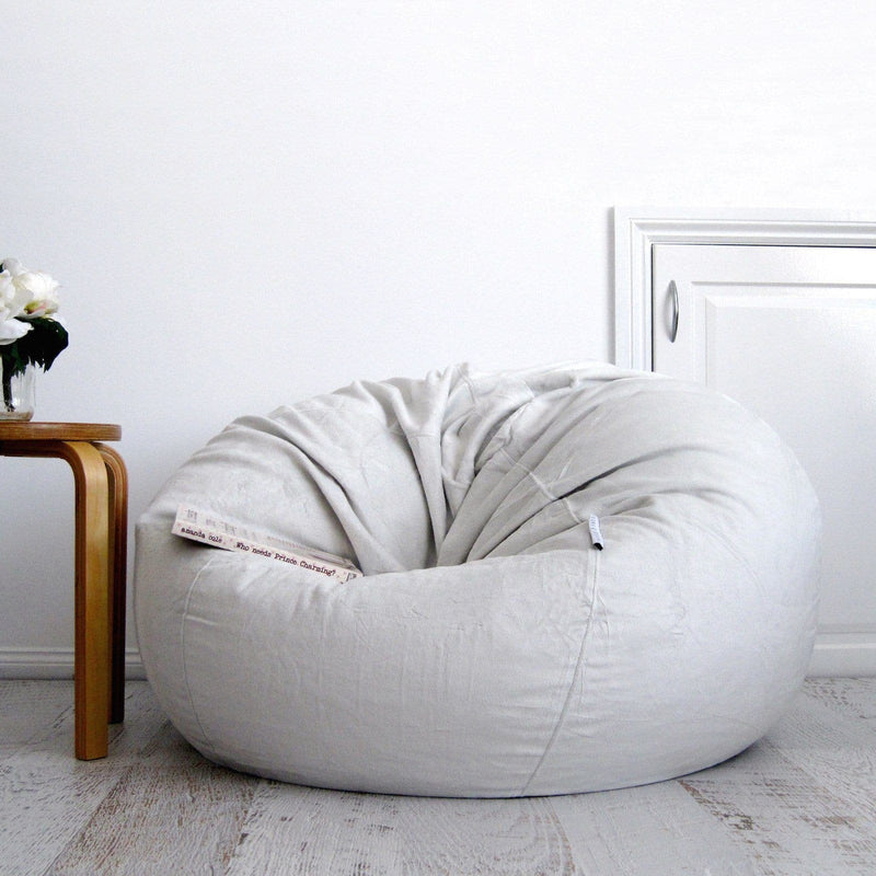 Pierre Fur Bean Bag - Silver Grey - 2 Sizes Available