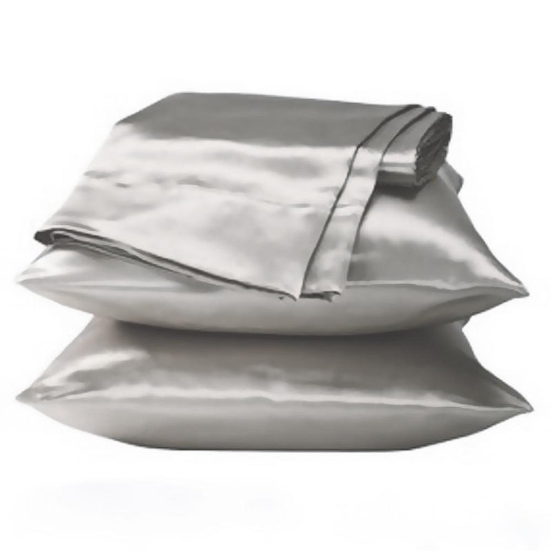 on sale silver satin pillowcase set