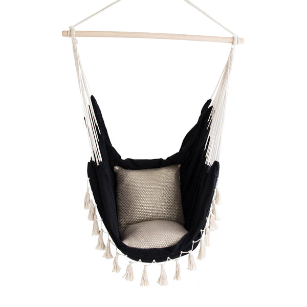 black soho hanging hammock chair with natural fringe detail