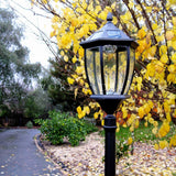 solar garden lamp post on the edge of a driveway in a lush garden
