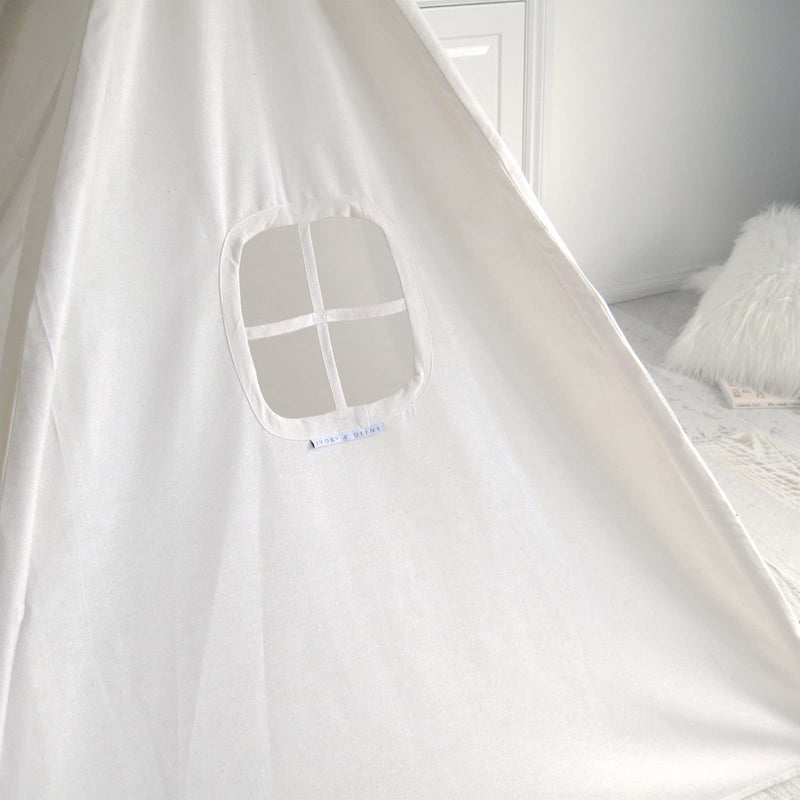 teepee tent showing window detail