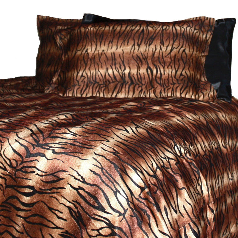 velvet fur quilt cover in tiger print on white background