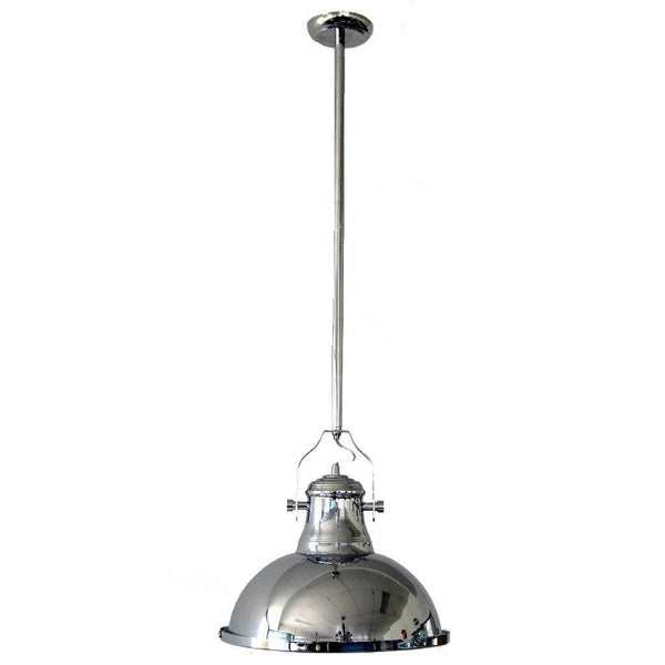 chrome industrial pendant light on a white background
