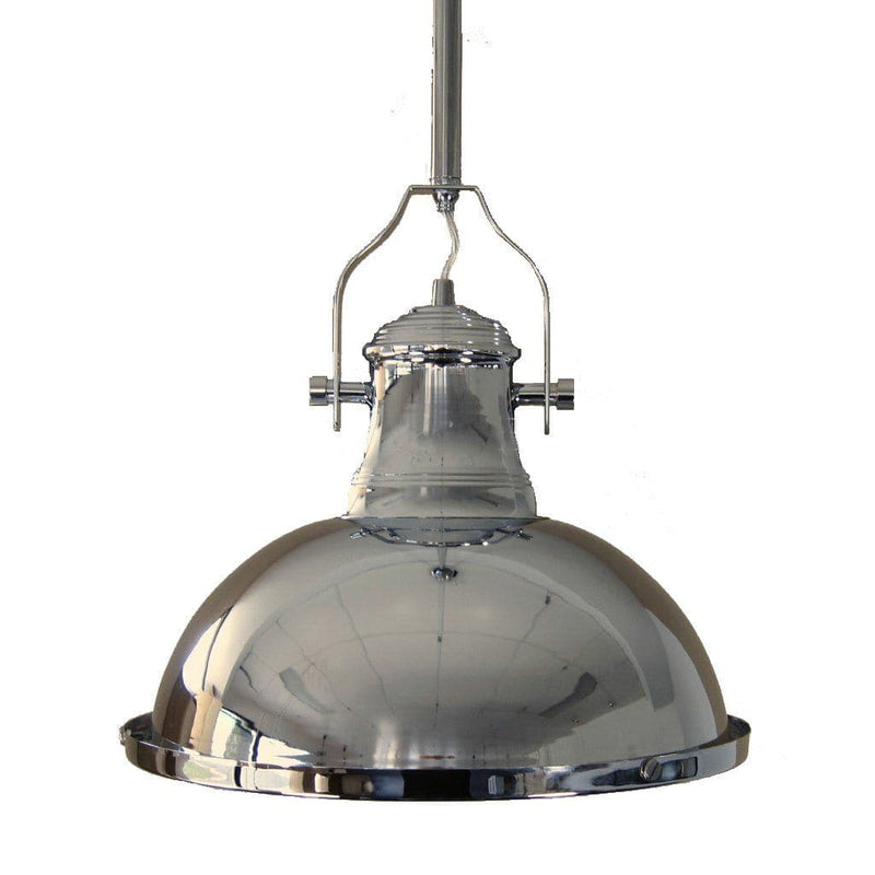 close up of a chrome industrial pendant light