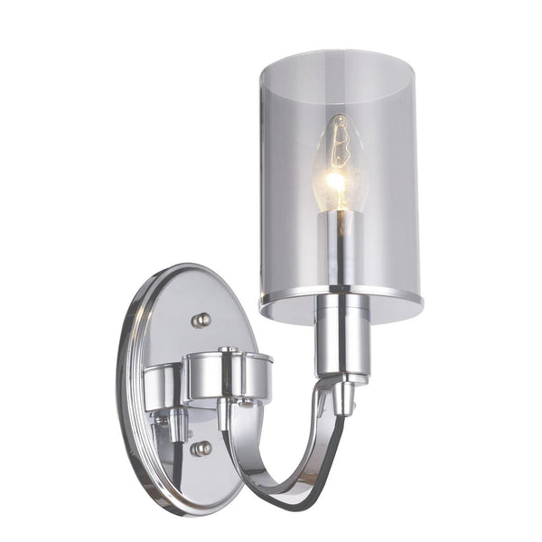 polished chrome wall light with smoked glass shade on white background