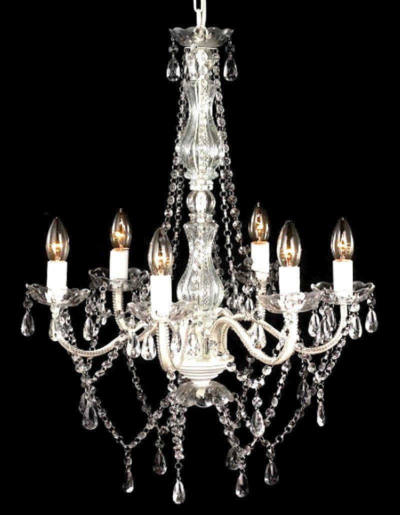 white gypsy chandelier on black background