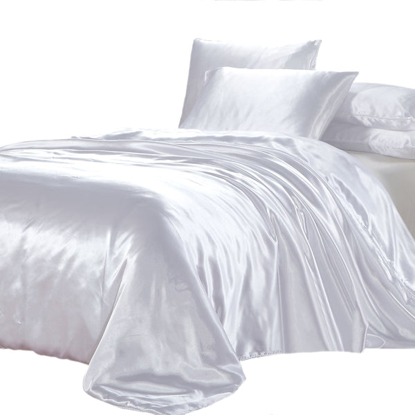 satin quilt cover white with pillows on a white background