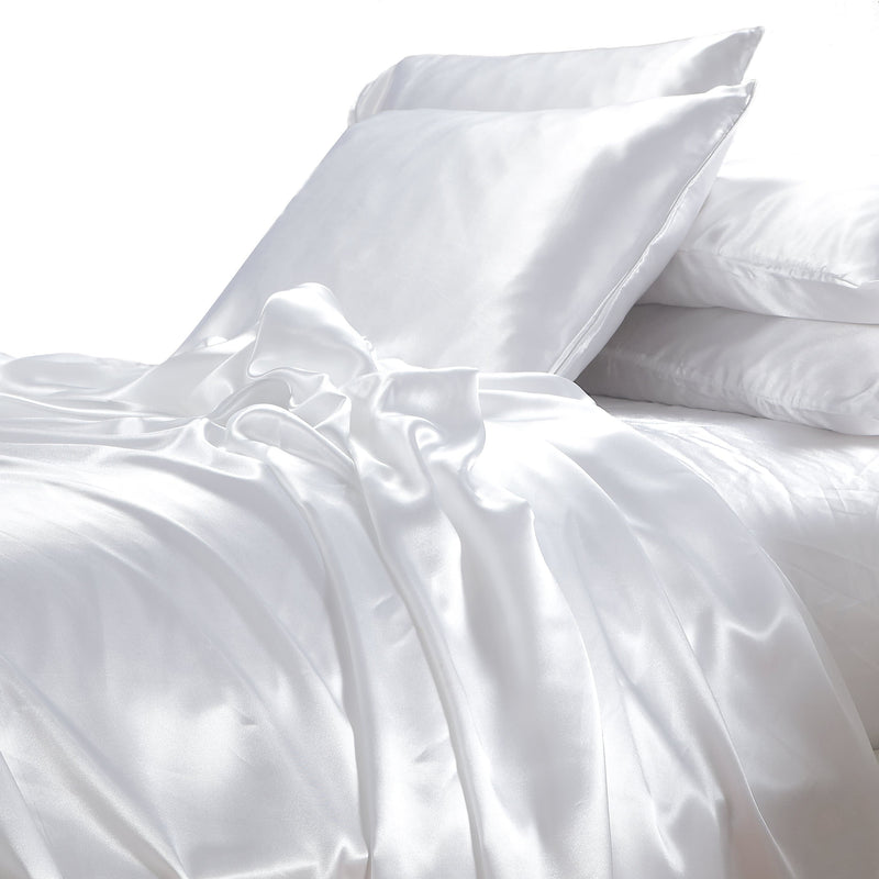 satin sheet set white on white background