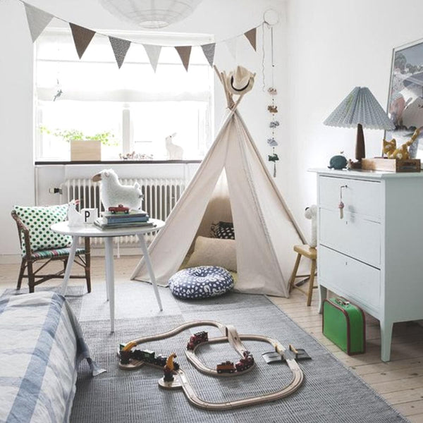 white teepee tent for kids cubby house in bedroom