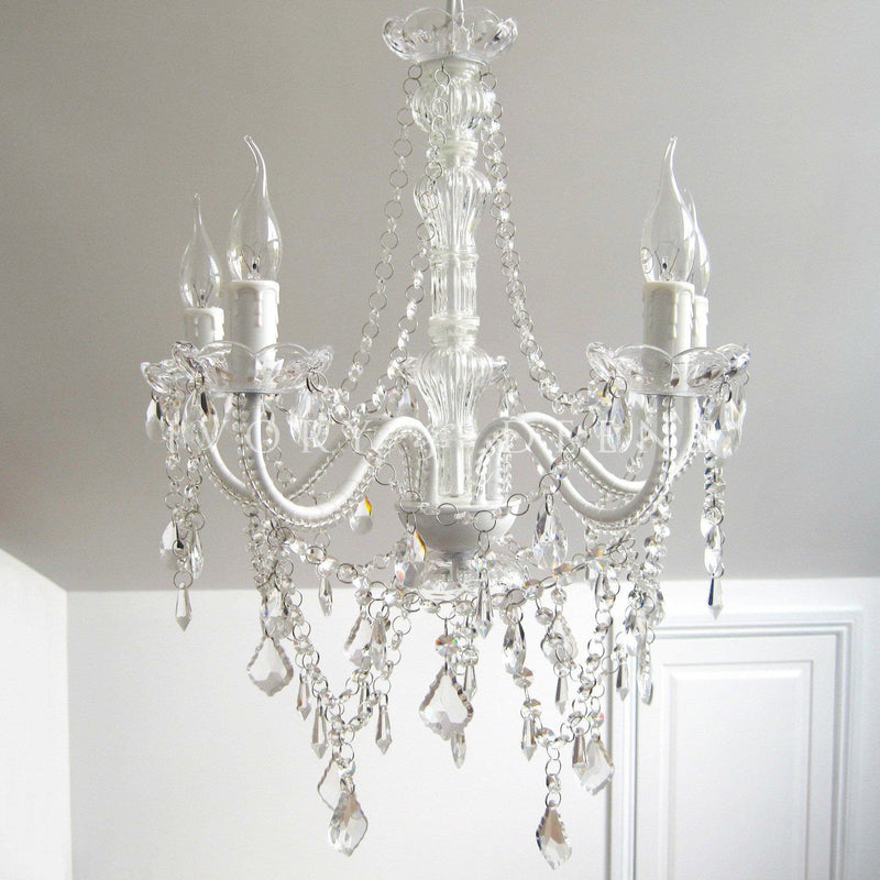 French White 5 Light Acrylic Crystal Chandelier - Devotion
