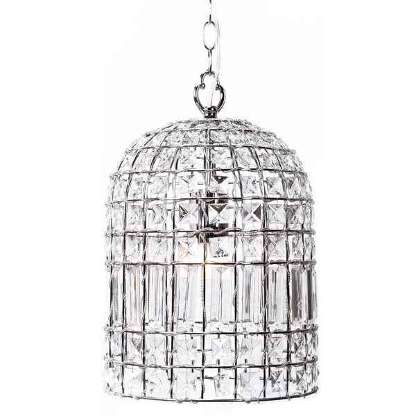 bohemian dome chandelier with chrome frame and square glass crystals
