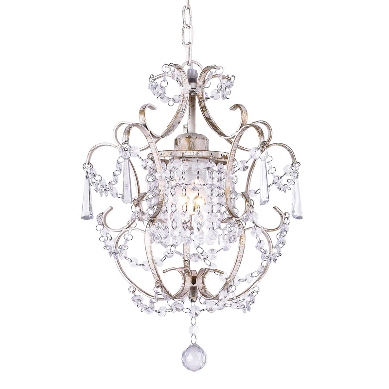 distressed shabby chic cream chandelier with crystals