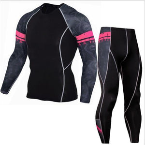 Winter Thermal Underwear Set Men's Sportswear Running Training Warm Base Layer Compression Tights Jogging Suit Men's Gym 2019