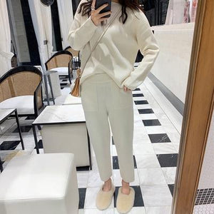 Women Sweater Two Piece knitted Sets Slim Tracksuit 2019 Spring Autumn Fashion Sweatshirts Sporting Suit Female