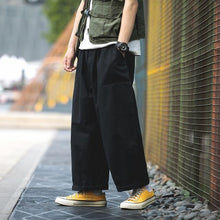 Load image into Gallery viewer, Privathinker Men Japan Safari Style Solid Joggers 2019 Mens Loose Srraight Wide Leg Pants Male Fashion Hip Hop Cargo Pants black