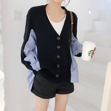 Load image into Gallery viewer, Patchwork Striped Women Sweater Cardigan 2019 Autumn Fashion Loose V Neck Button Cardigan Long Sleeve Knitted Sweater Tunic
