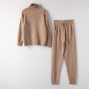 Turtleneck Pullover Sweatshirts Knit Pants Suit Two Piece Sets Women Autumn Winter Warm Knitted Tracksuit Sporting Suit Female