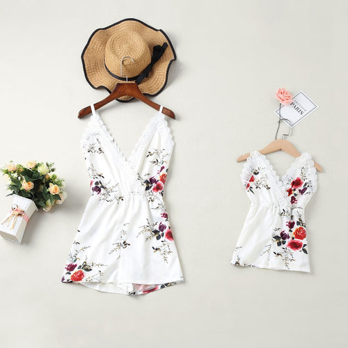 1 piece mother daughter dresses lace floral overall pants family look mommy and me matching clothes outfits mom mum baby dress