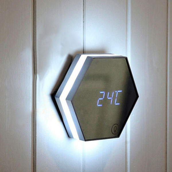 LED Alarm Clock Multifunction Digital Electronic Led Mirror Clock Temperature Large Display Home Decor